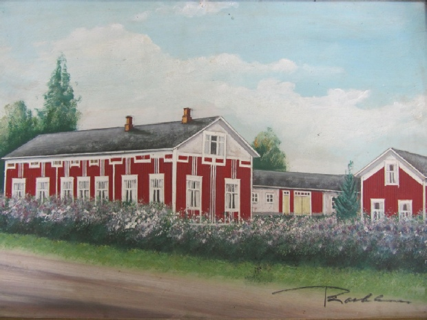 Målningen av Agnäs vackra gård är gjord av konstnären Rosblom, möjligtvis på 40-talet.