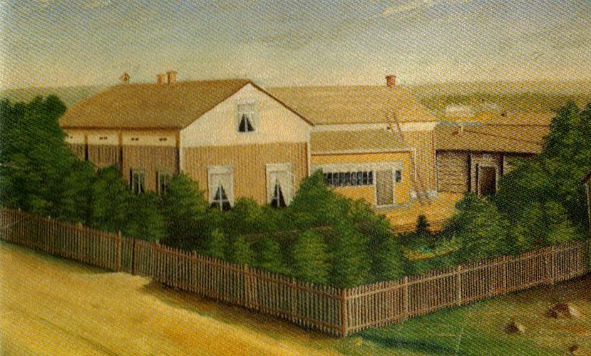 Så här såg den gamla skolan ut enligt konstnären Degerstedt från Kaskö.