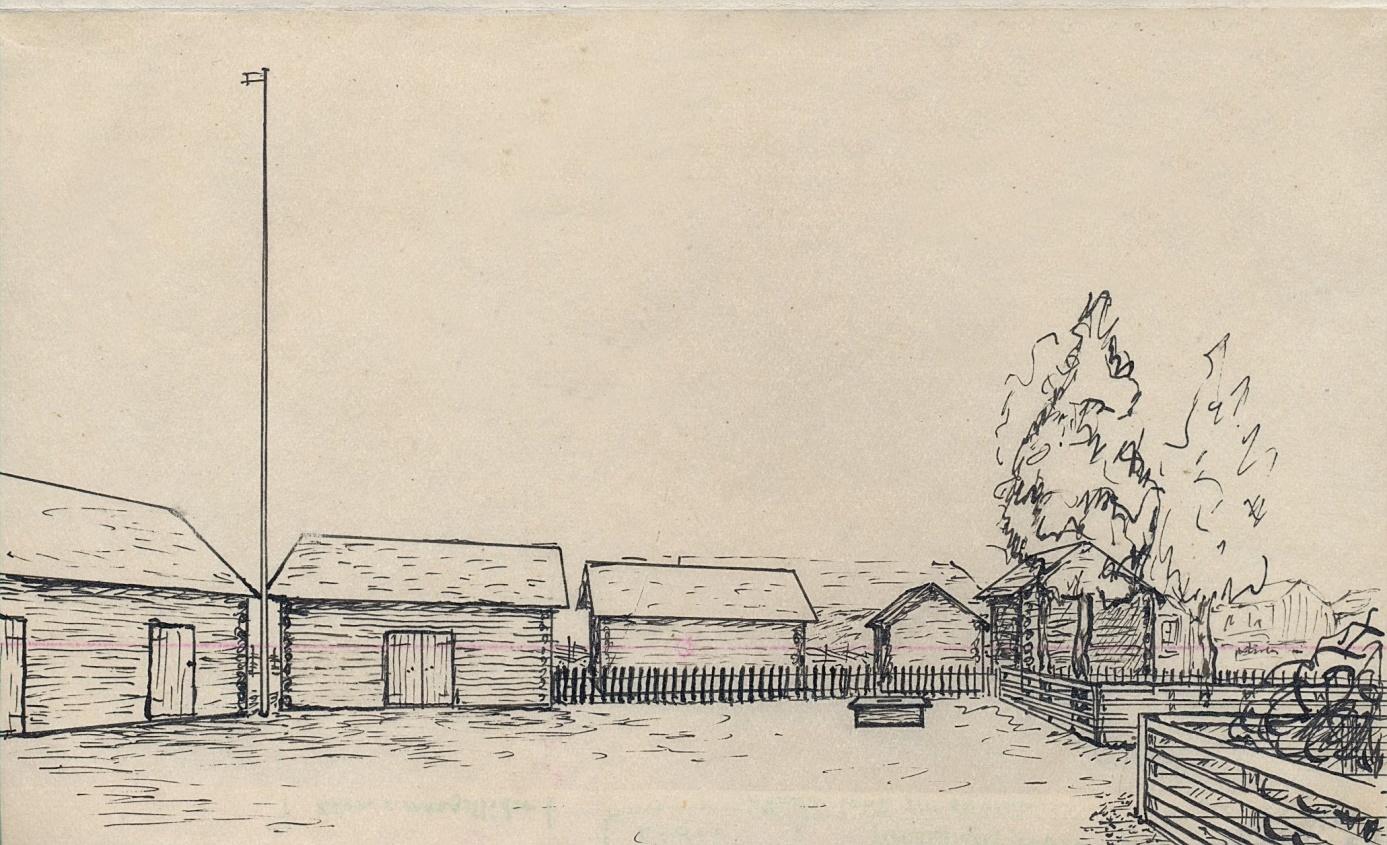 Denna ritning från år 1953 av Rurik Nylund visar hur utsikten såg ut från den så kallade postdörren åt väster. Rekonstruktionen är gjord enligt anvisningar av Elin Stenman.