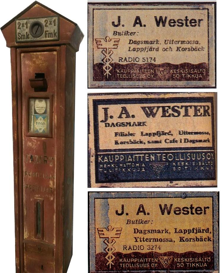 Det är inte mycket som finns kvar av Westeras affär förutom Fazers karamellautomat Tussin. Den fanns i tiderna på ytterväggen bredvid dörren, numera finns den hos J. Lindqvist i Korsholm. Egna tändstickor med reklam var ett måste förr i tiden och Wester lät göra sådana med flera olika etiketter. Här några etiketter tagna ur Åke Berglunds bok.