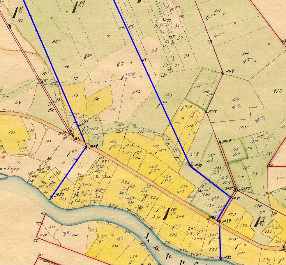 Långfors hemman nr 1:10 som Klemes-Emel fick i Klemetsändan var väl samlat i ett stort skifte från Lappfjärd å upp till Sparmossen. På storskifteskartan från 1905 så finns det inga gårdar, förutom de syns nere i Storfors.