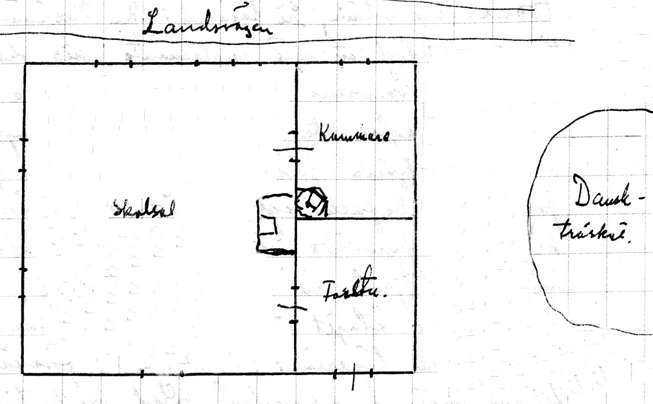 """Så här trodde läraren Einar Lind att det första skolhuset i Dagsmark såg ut, det som byggdes av byamännen år 1860 med Johan """"Sebbin"""" Rosenback i spetsen."""