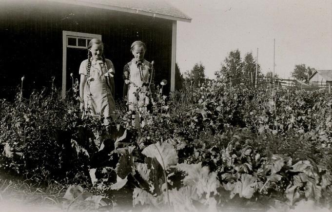 Här kusinerna Gerda Klåvus och Verna Agnäs i klubblandet hos Klåvus.
