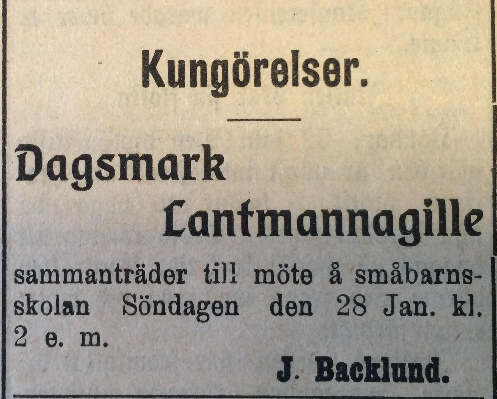 1912 annonserades mötet så här. Det ordnades på den nybyggda småbarnskolan.