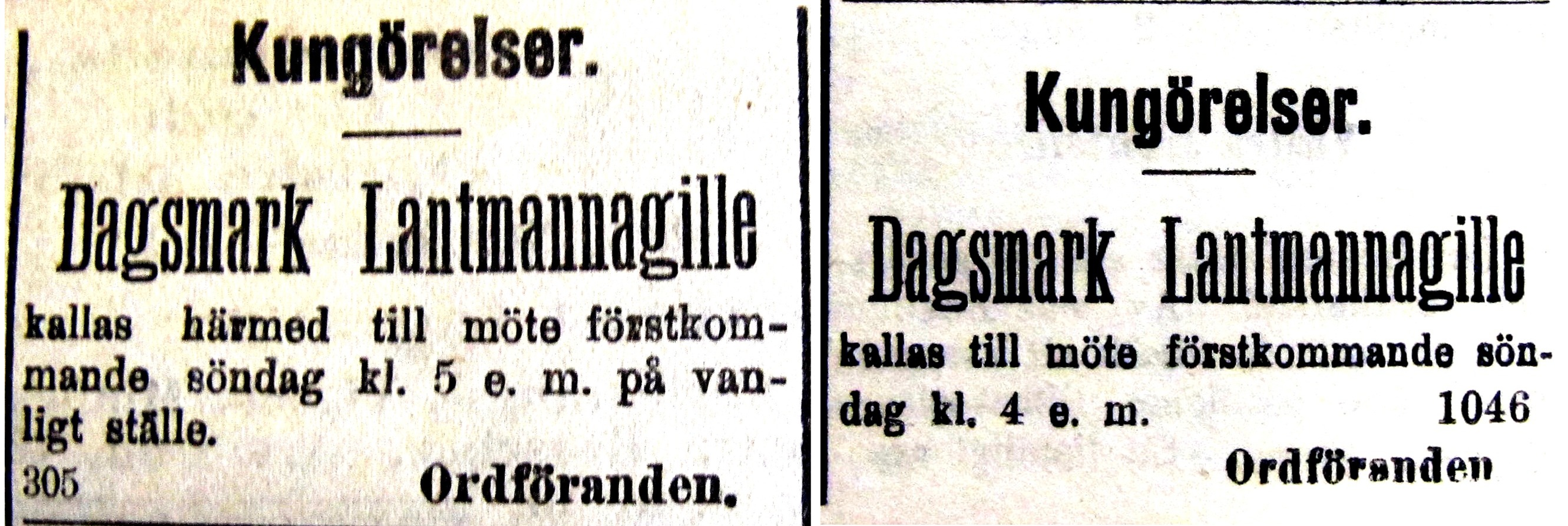 2 annonser från 1916.