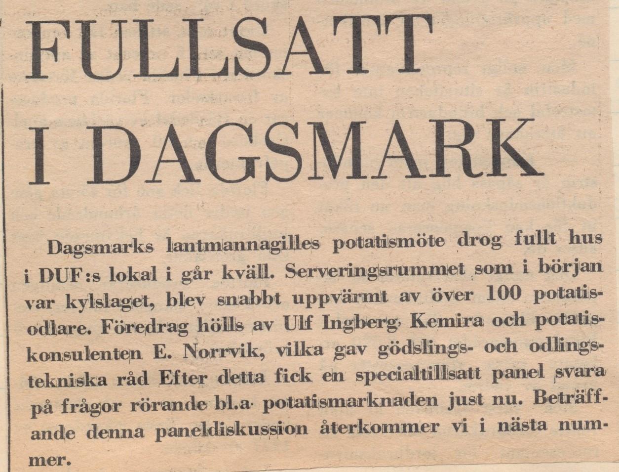 1976 skrev Syd-Österbotten att potatismötet drog fullt hus.