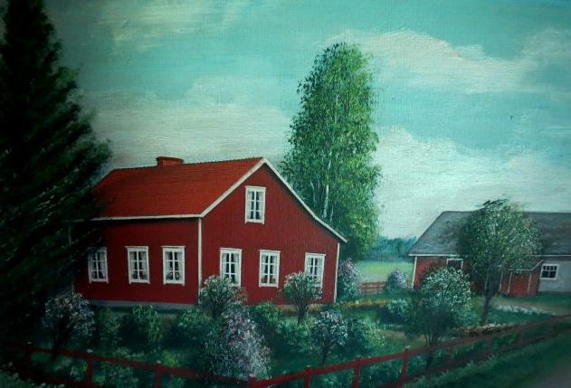 Så här såg Klemes-Kalles och Finas gård ut enligt konstnären Rosblom.