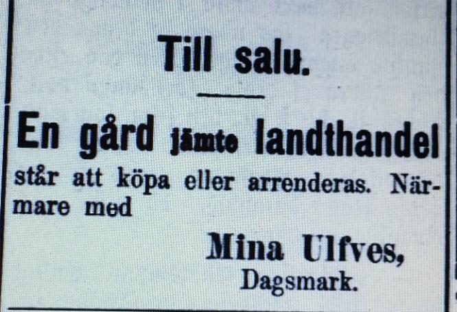 År 1905 bjöd Mina ut sin gård i tidningen Syd-Österbotten.