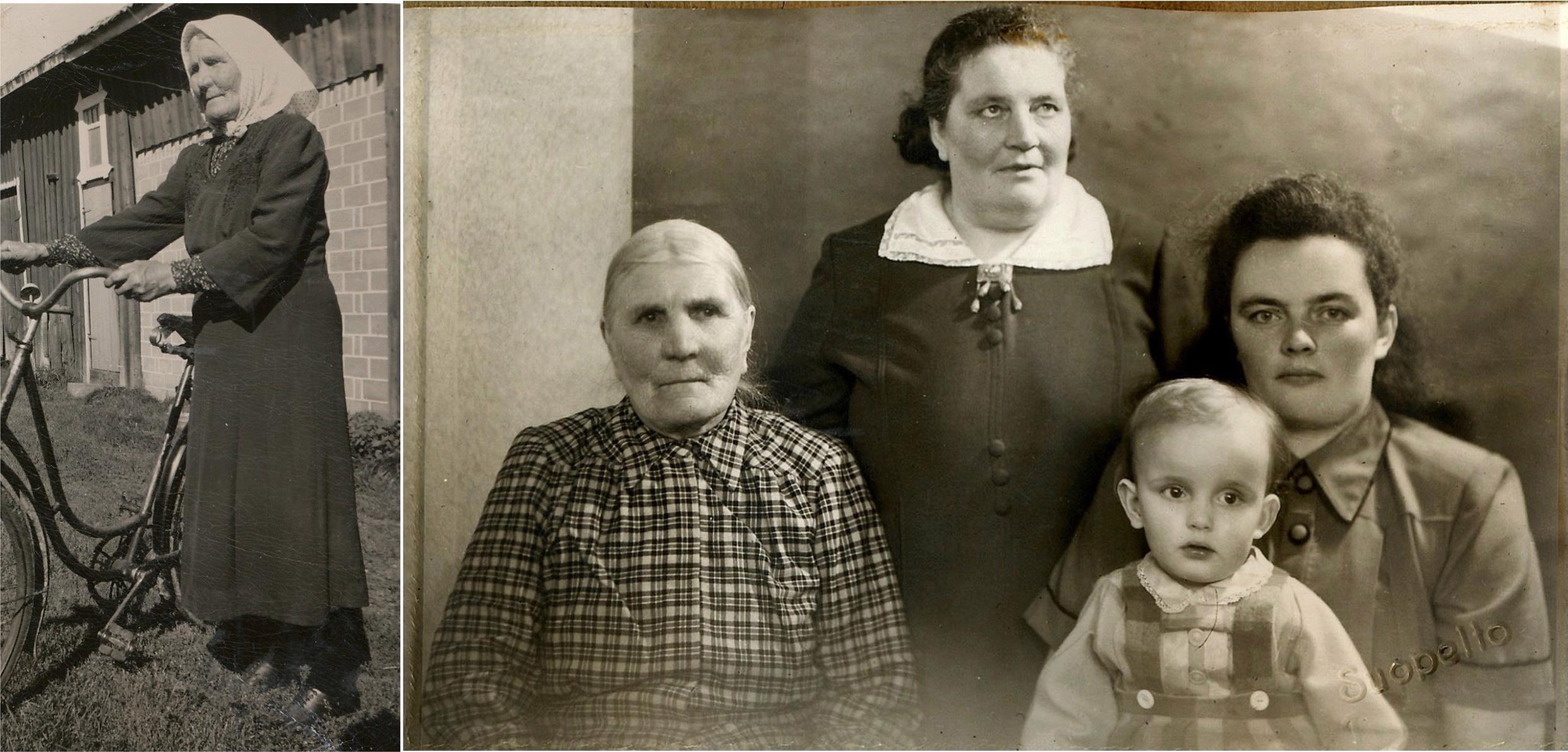 T.v. Anna Kajsa som först var gift med Josef Lillkull men efter hans död i Syd-Afrika så gifte hon om sig med Niklas Nyström. På fotot t.h. sitter Anna Kajsa med sin dotter Hulda Norrgård, längst till höger barnbarnet Elsi, gift Ingvesback med sin dotter i famnen. Fyra generationer på samma foto var den tiden inte riktigt vanligt.