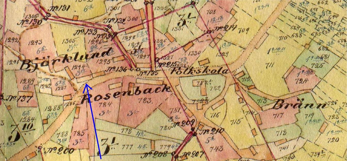 På storskifteskartan från början av 1900-talet ser vi vid pilen den gård som flyttades hit från Bötom i slutet på 1800-talet. På samma gårdsplan står Antas gamla gård med gaveln vänd mot landsvägen. Vägg i vägg med Dahlroos gård stod i tiderna Agnäs Henriks och Minas gård.