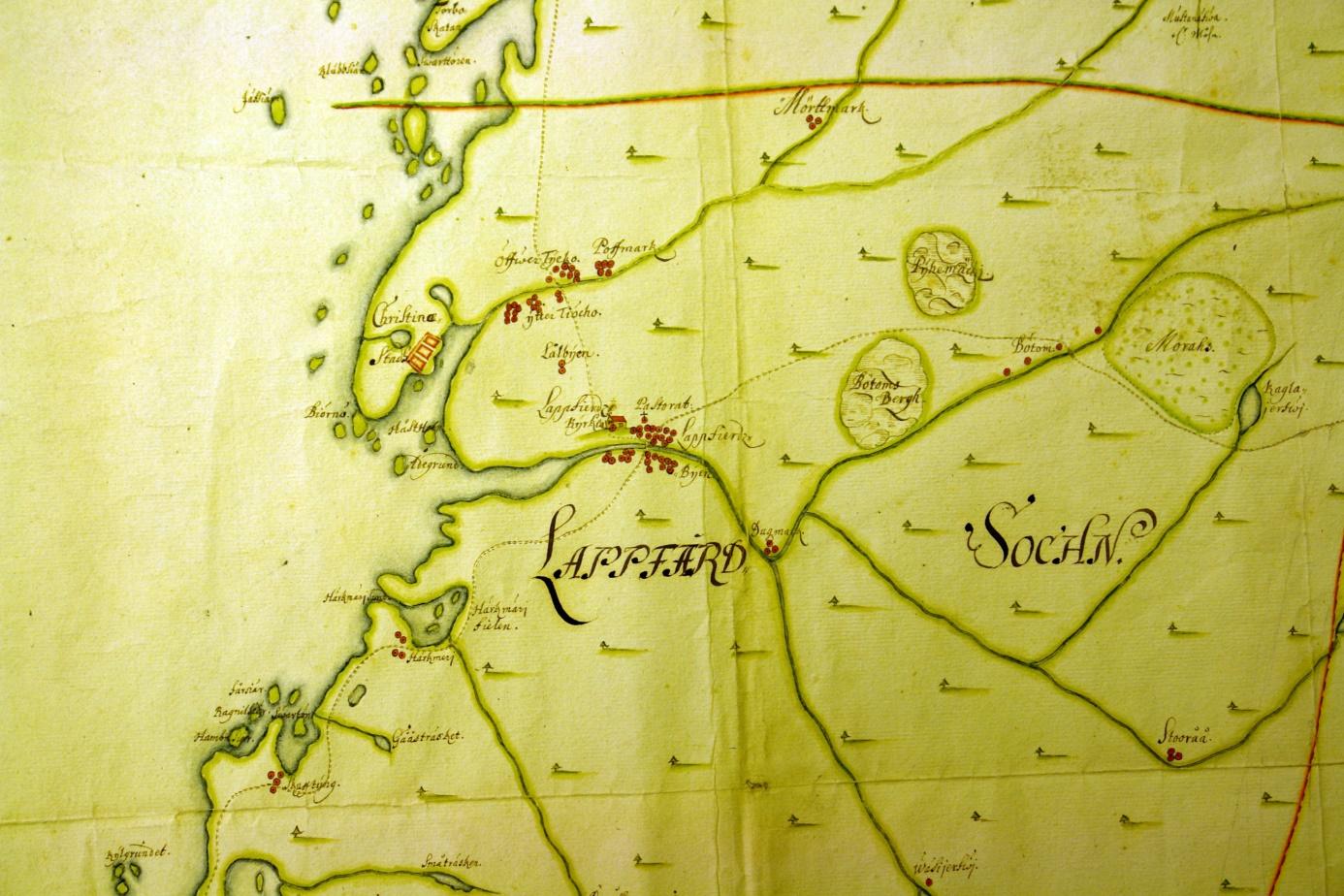 På denna karta från slutet av 1600-talet så ser man att det i Skaftung fanns 4 hemman, likaså i Härkmeri. I Lappfjärd fanns det närmare 30 hemman medan det i Dagsmark fanns endast 3.