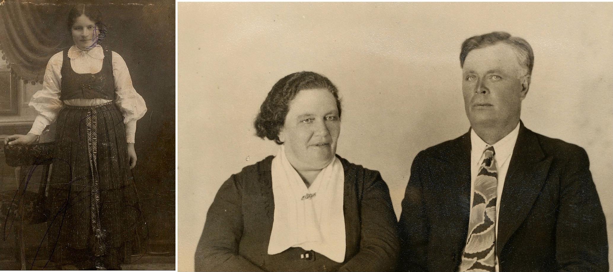 T.v. unga Hulda Lillkull. Till höger sitter hon med sin man Emil Norrgård.
