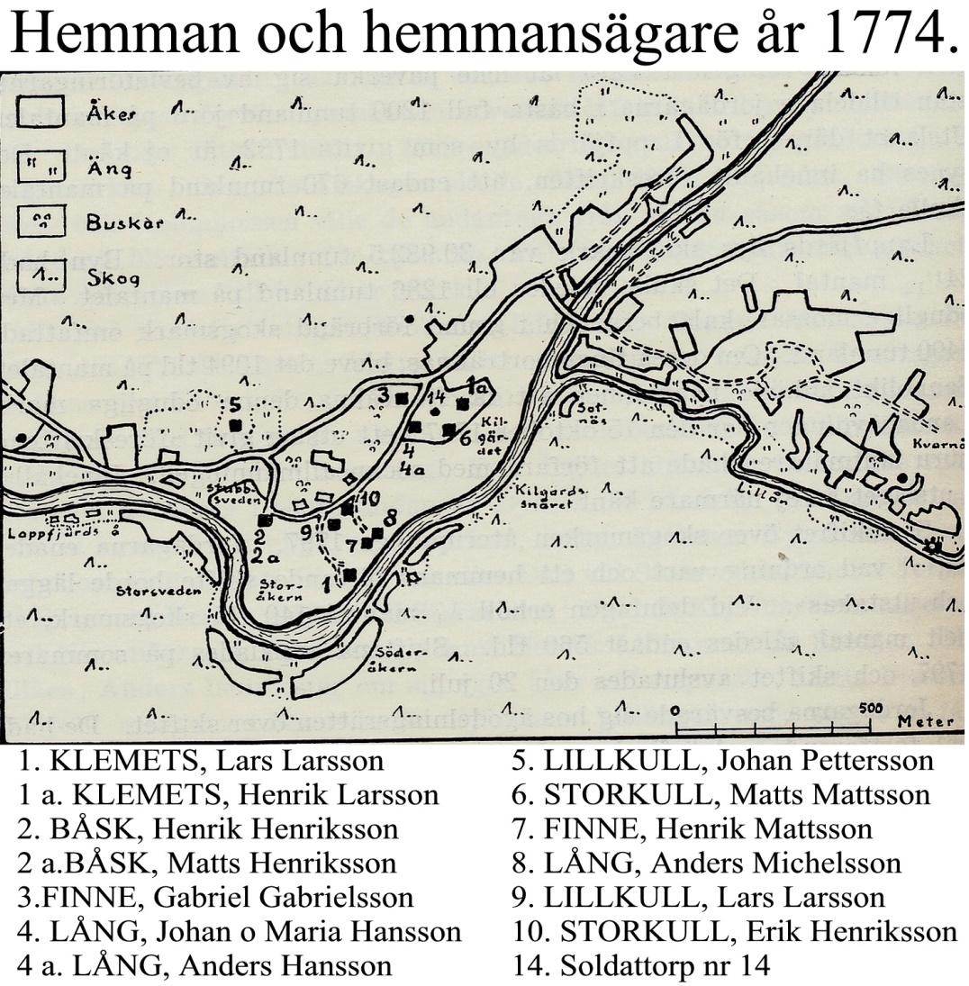 På denna karta som är ritad av Rurik Nylund så ser vi att alla hemman är samlade i Byin på Sebbasbackan och ner mot Storåkrin.