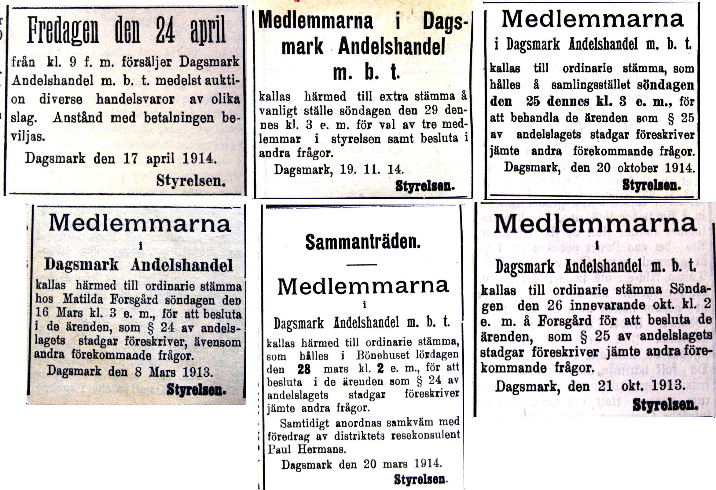 Varje år ordnades det möten antingen i någon medlems hem eller i butikslokalen. Flera möten ordnades hos Matilda Forsgård, alltså i det hus som sedan skulle byggas om till bönehus.