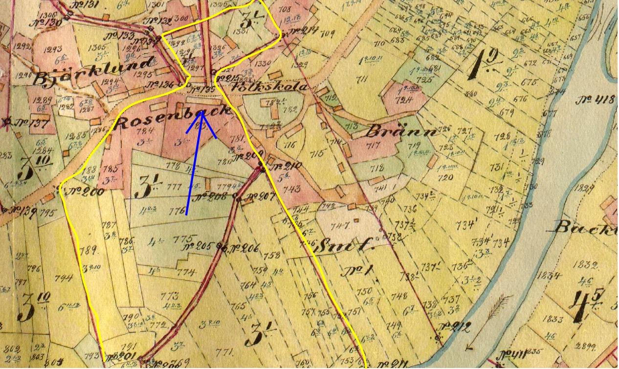 """Den gula linjen visar hur stort Rosenbacks hemman var som Henrik och Mina Agnäs köpte av """"Eljasas-Viktor"""" Rosenback. På Näset nära rån mot Bötom fanns det därtill stora åkrar och ängar. Vid den blåa pilen står Agnäs gård."""