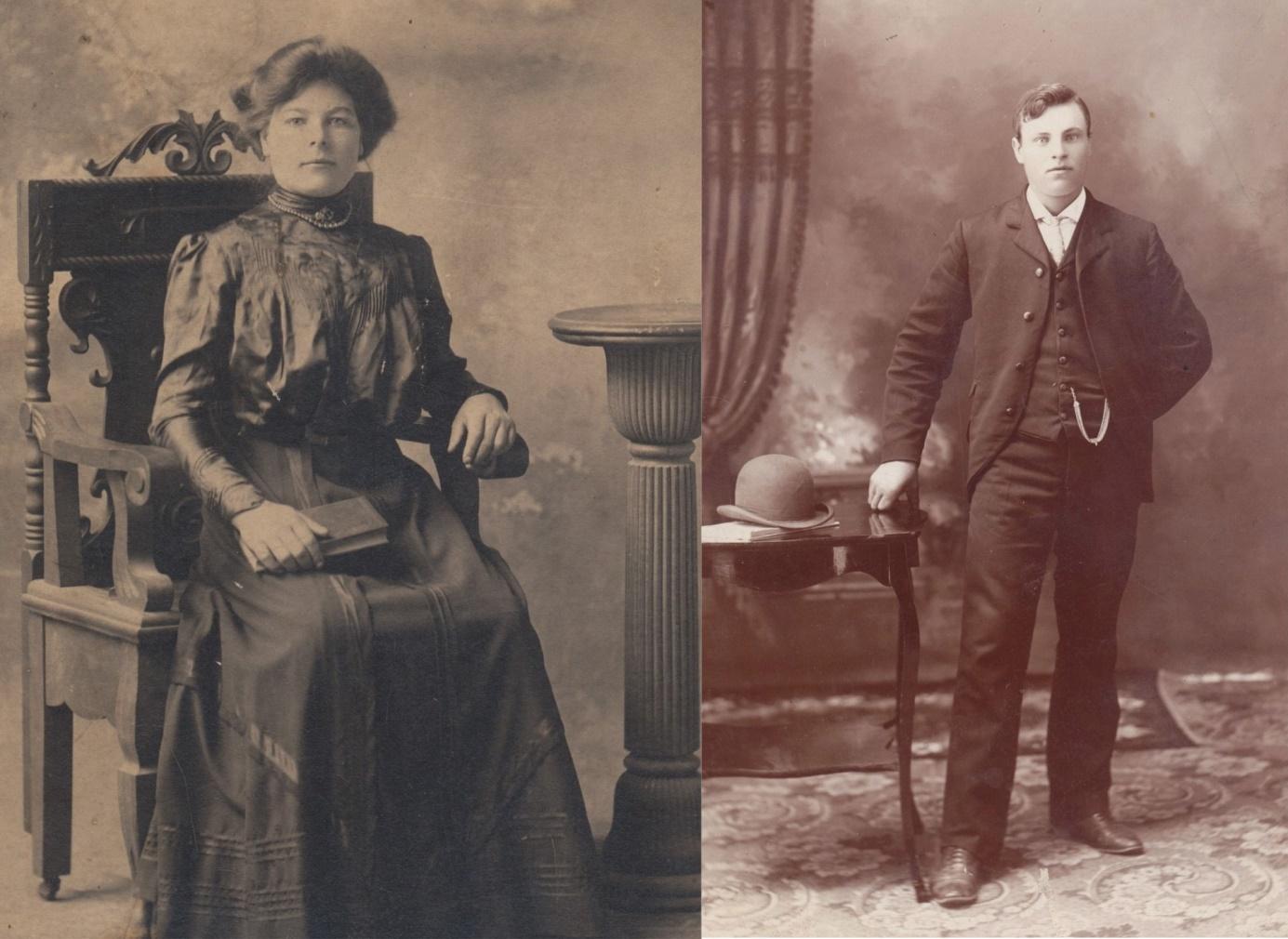 På bilden till vänster Henriks äldsta dotter Amanda (1886-1956) som var gift med Emil Styris och bodde i Amerika. På äldre dagar blev hon rörelsehindrad och hennes svåger, handlaren Erik Andersson hämtade hem henne till Dagsmark. Hon bodde i Anderssons hus på Bygränden tills hon dog 1965. På bilden till höger Henriks äldsta son Johan Viktor (1880-1916) som år 1909 emigrerade till Amerika och blev bonde där. Han gifte sig med Lena (1885-1968) och de fick 5 barn under åren 1907-1919 och det finns ett stort antal ättlingar där.