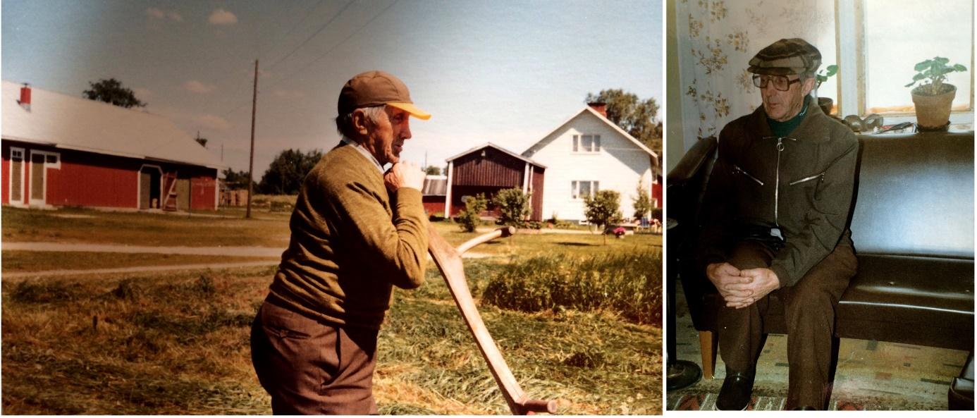 """På bilderna """"Antas-Otto"""" på äldre dagar. På bilden till vänster syns härbret, som revs på 1980-talet och på fotot till höger sitter Otto i finsoffan där Huhtala."""