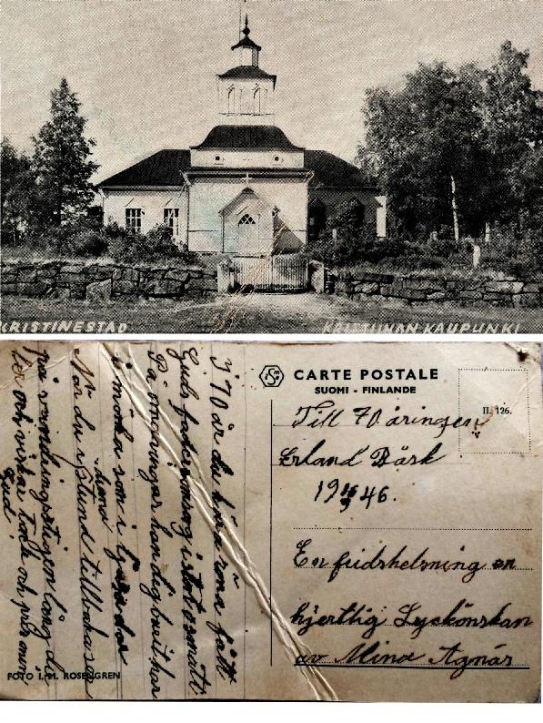 År 1946 då Erland Båsk fyllde 70 år fick han ett underligt gratulationskort av sin granne Mina Agnäs. Enligt texten på kortets framsida skulle det vara från Kristinestad men i själva verket är det kyrkan i Bötom som är avbildad. Kortet finns hos Bengt Holmberg.