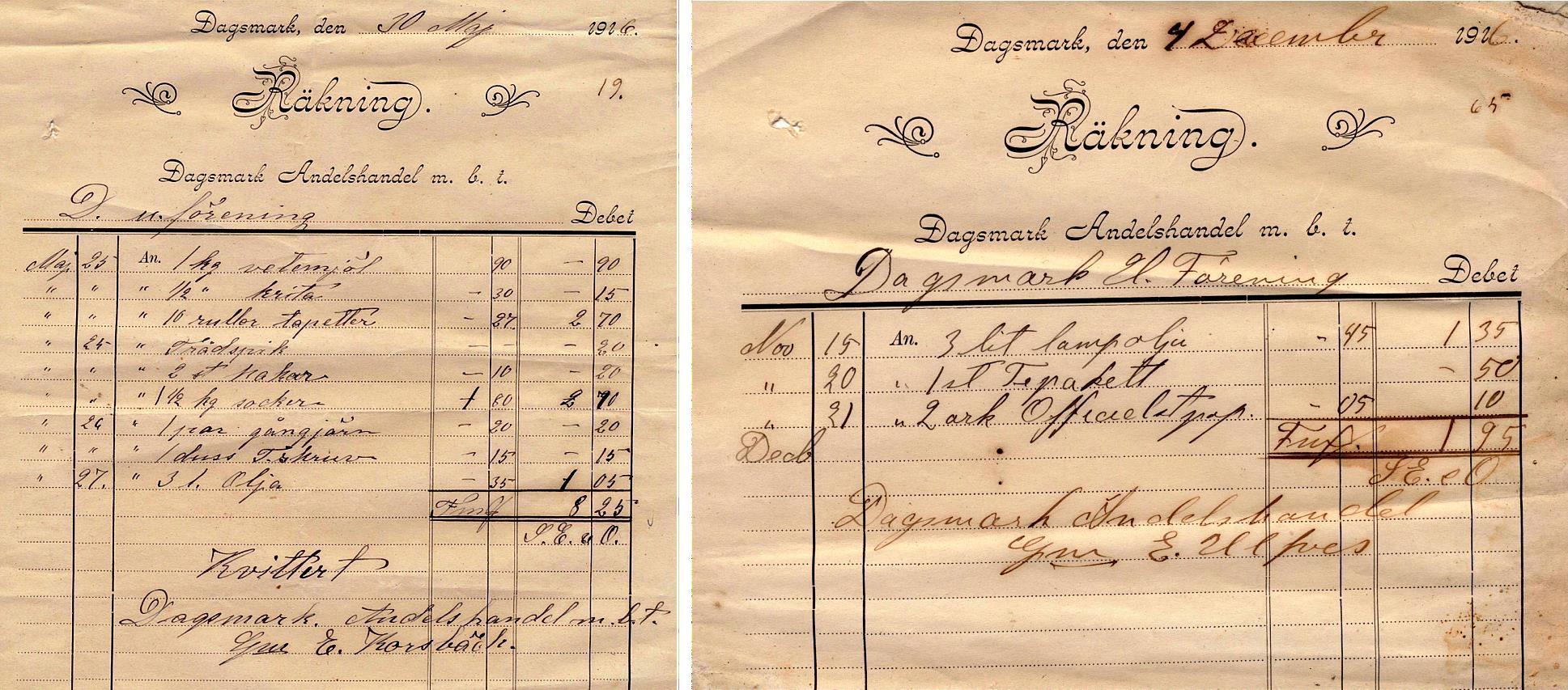 Dagsmark Ungdomsförening gjorde flera inköp i den egna Andelsandeln. Kvittot är kvitterat av E. Ulfves.