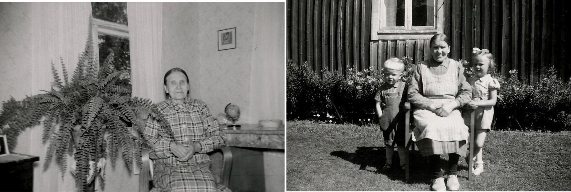 På bilderna Amanda Långfors på äldre dar. På bilden till höger sitter hon tillsammans med 2 barnbarn från Sverige.