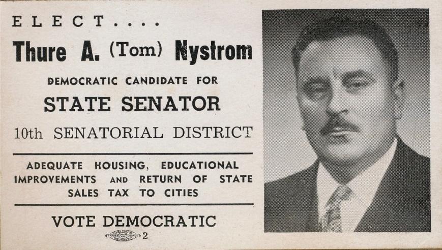Anselm var politiskt aktiv i Amerika och han var också uppställd som kandidat i något val. Märk att han här heter Thure Nyström, han föddes ju som Thure Anselm Lillkull.