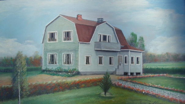 Rosblom var en känd konstnär som målade flera gårdar i Dagsmark. På den ursprungliga tavlan fanns de två garagedörrarna med men hade efteråt målat dit fönstren. Selma Andersson tyckte om trädgårdsarbetet och så länge hon orkade var den mycket välskött med hagtornshäckar, cembratallar, syrener och liljor i alla möjliga färger.