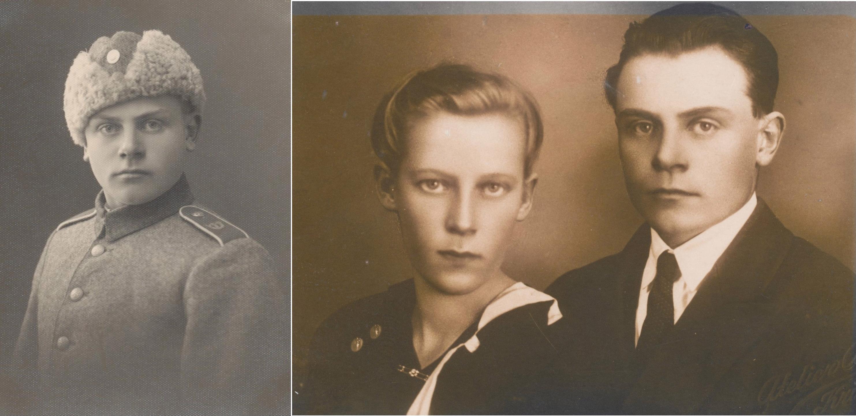 På bilden till vänster Valter i militären. Han deltog både i vinterkriget och i fortsättningskriget. På bilden till höger Valter och Ida Långfors.