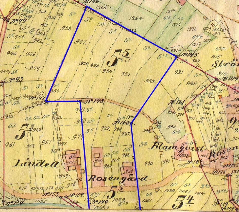 På storskifteskartan så är Rosengårds hemskifte utmärkt med en blå linje och gården där Ana-Kajs bodde finns på figur 983 i den vänstra sidan.