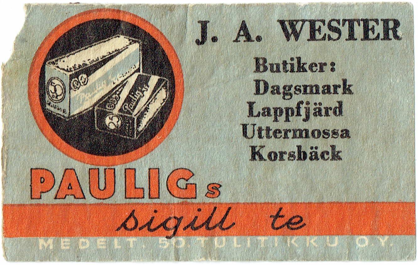 På denna tändsticksask med Pauligs reklam så ser vi att Wester hade 4 butiker i Lappfjärd.