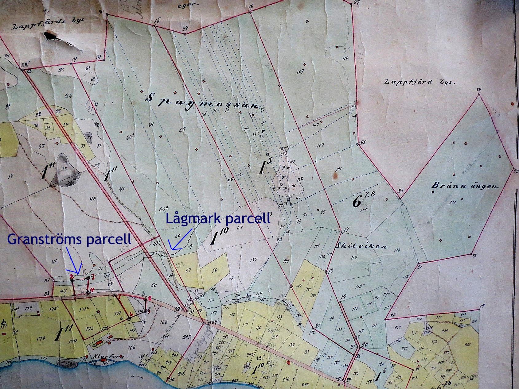 Här på den gamla kartan så ser vi var Lågmark och Granströms parcellerna låg. Båda 2 var utbrutna från Klemes-Kalles hemman. På Lågmark står i dag Gullmes gamla gård.