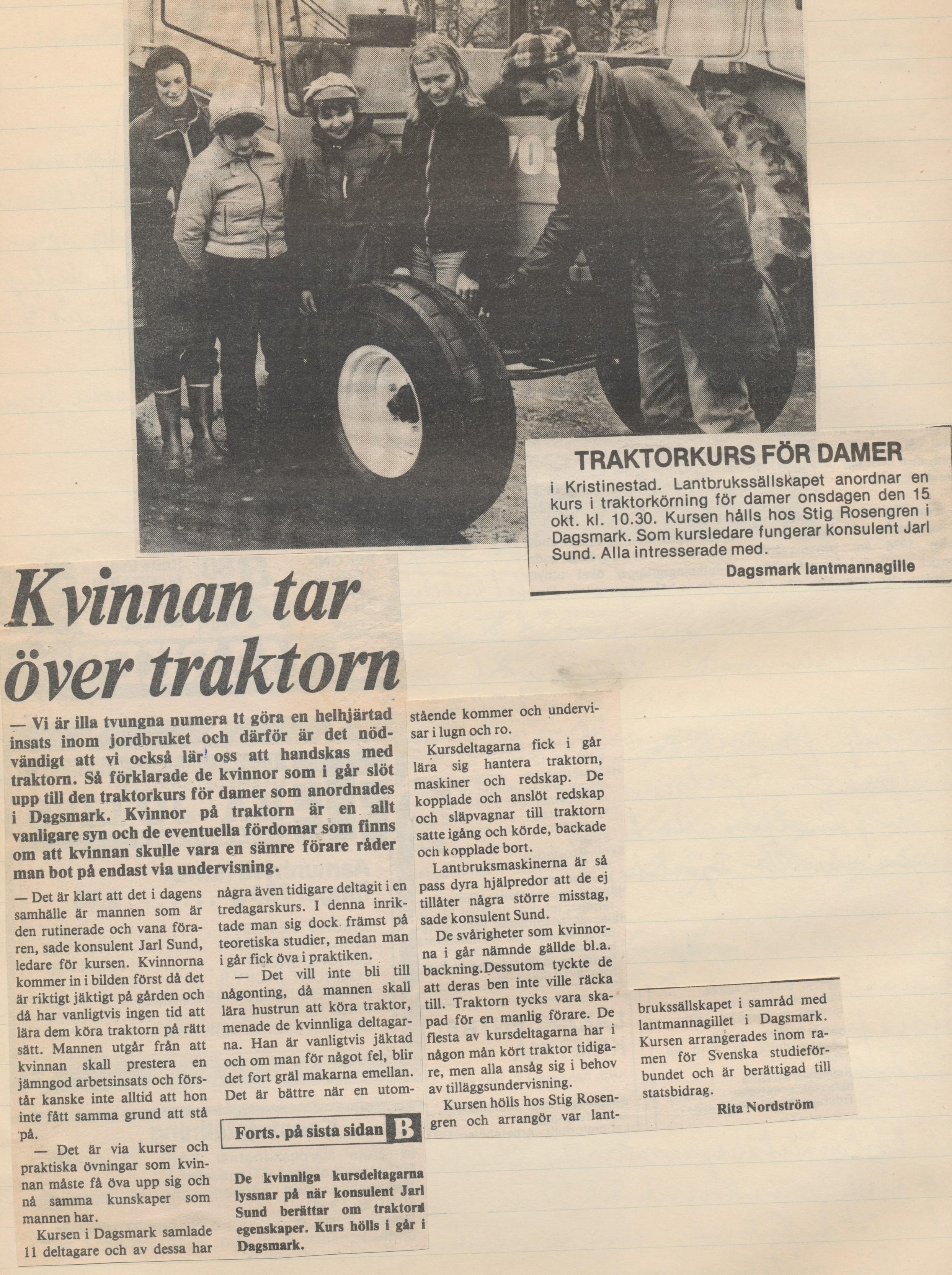 En traktorförarkurs ordnades hos Rosengrens i Dagsmark.