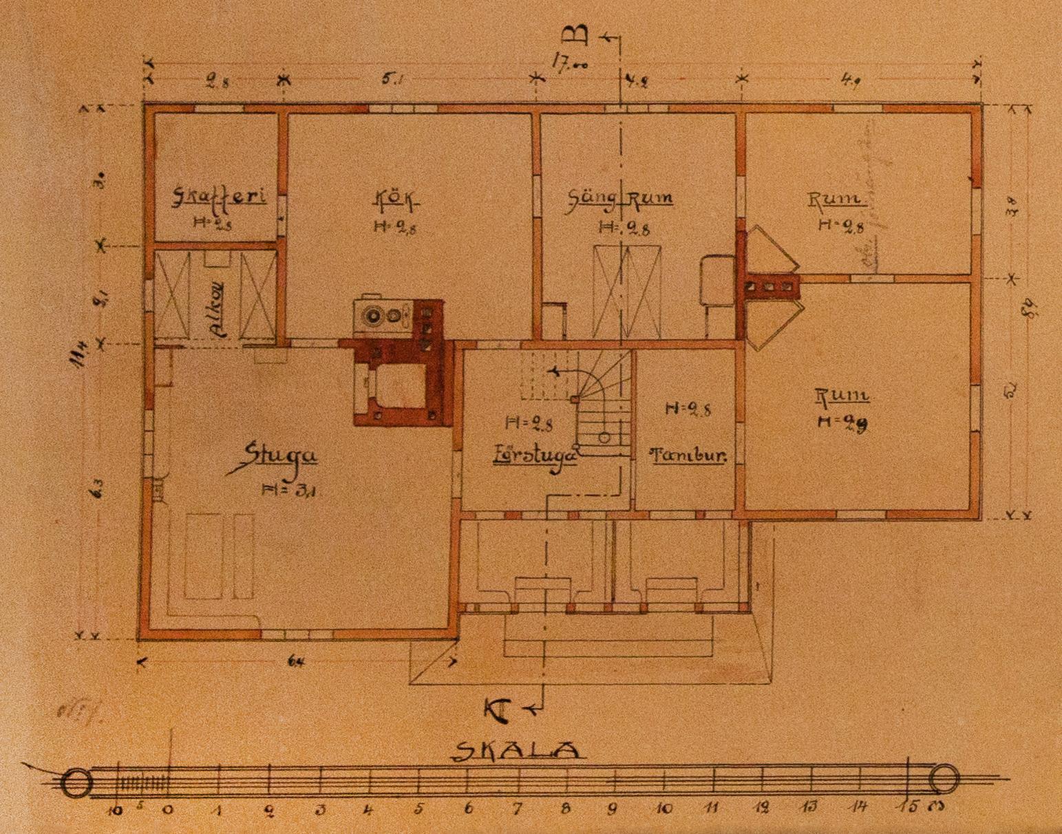 Här på planritningen så ser vi att huset har 2 lägenheter med var sin ingång.