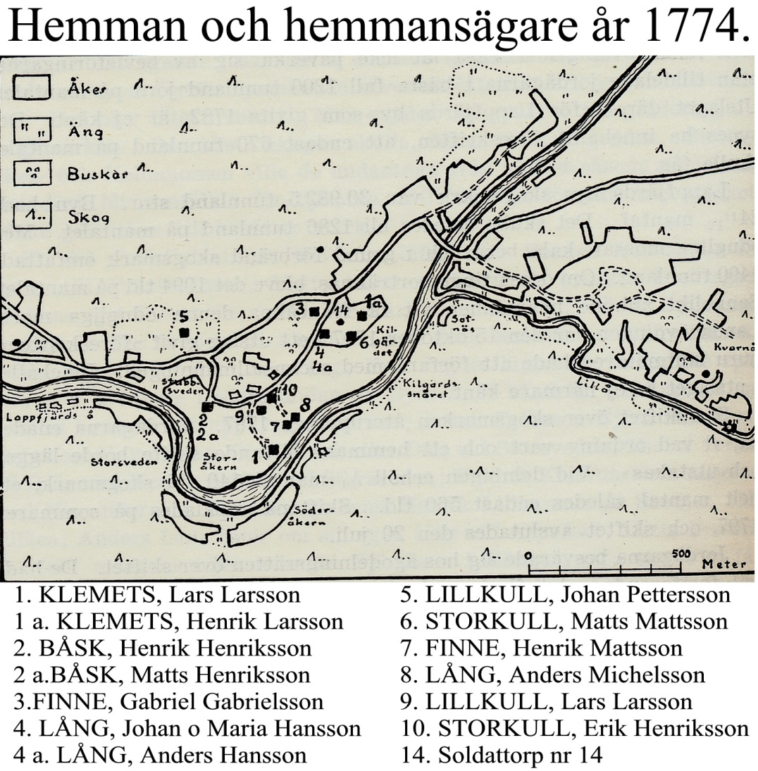 På denna karta syns det bra var Lars Larsson Lillkull hemman nr 9 fanns före han flyttade till A-Sidon. På den gamla kartan ser vi också att så gott som hela A-sidon är skogsmark och att inga vägar finns.