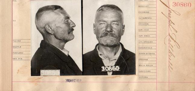 Här ser vi ett så kallat mugshot av Josef Lillkull, alltså fotografier som togs av personer som arresterats för brott. Ann-Britt har bidragit med detta och nog kan man säga att Josef ser lite härjad ut. Men mångsidig var han, guldgrävare och uppfinnare, bonde och skogshuggare.