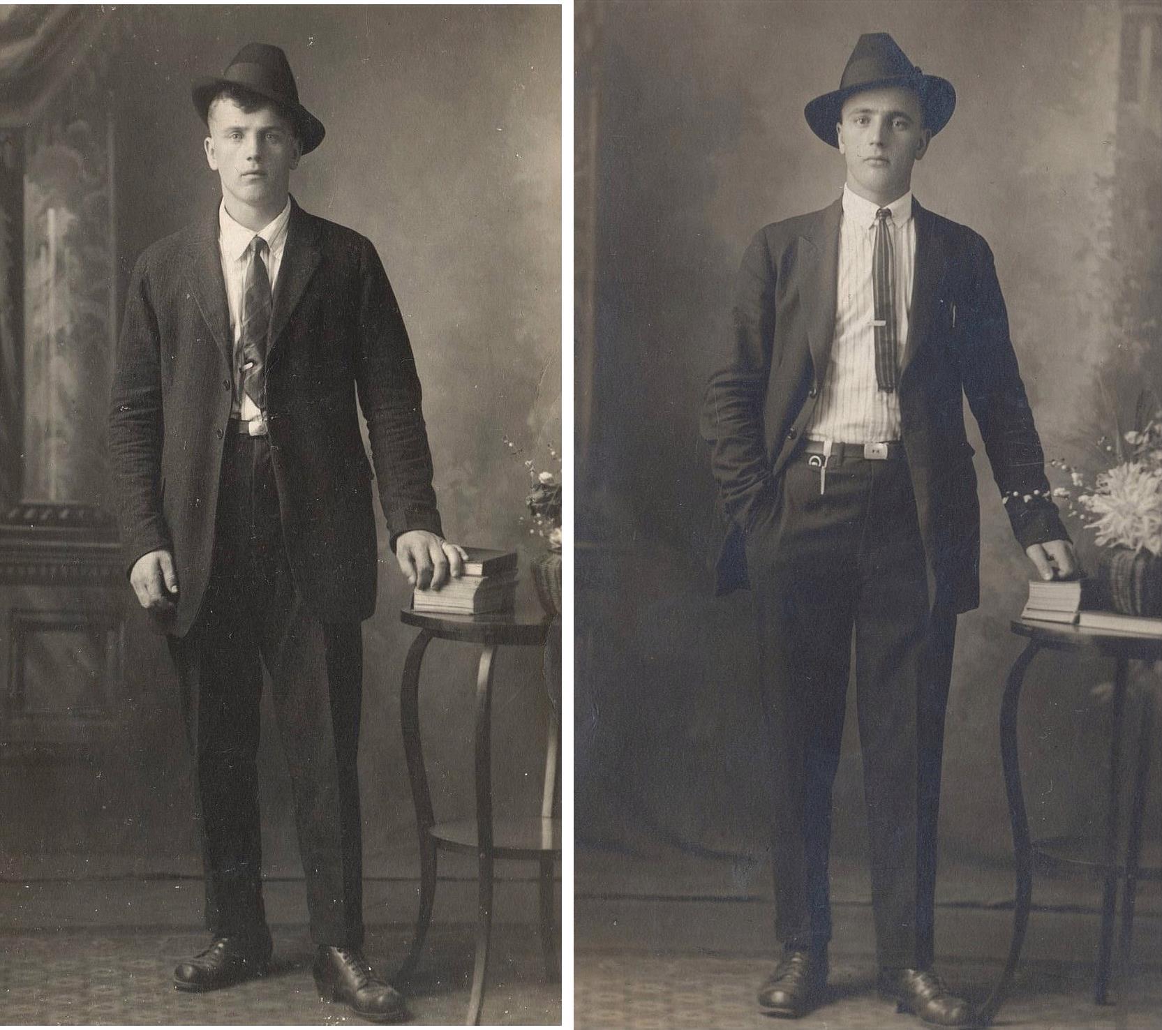 Här Evert t.v. och Emil Storkull som for till Amerika i början på 1920-talet, här fotograferade under Amerikavistelsen.