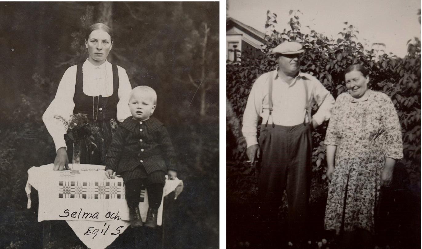T.v. Selma Storkull med sonen Egil i mitten på 20-talet då Evert befann sig i Amerika. Bilden t.h. av Evert och Selma är tagen någon gång på 60-talet.