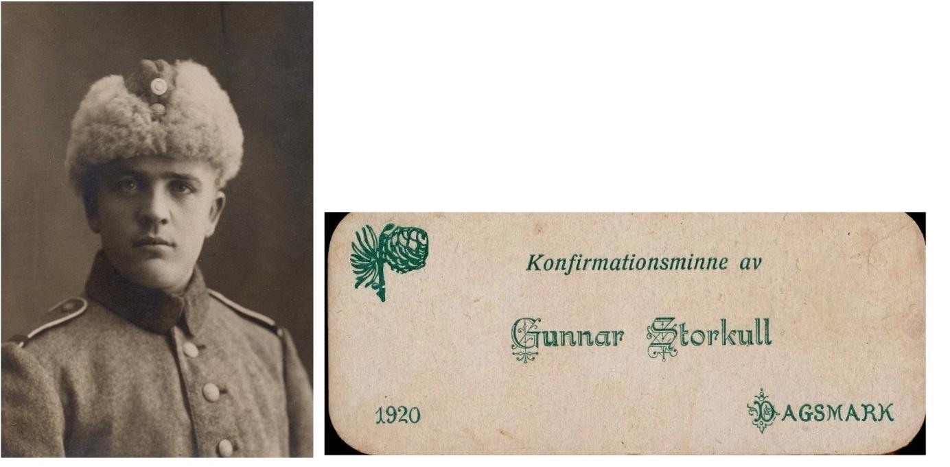 På bilden från 1924 Gunnar i militären och till höger ser vi att han konfirmerades 1920. Gunnar gifte sig år 1928 och på fotot här under en del av bröllopsgästerna från bröllopet i brudens hem i Pjelax.