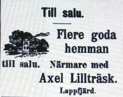 Axel Lillträsks annons i Syd-Österbotten i september 1910.