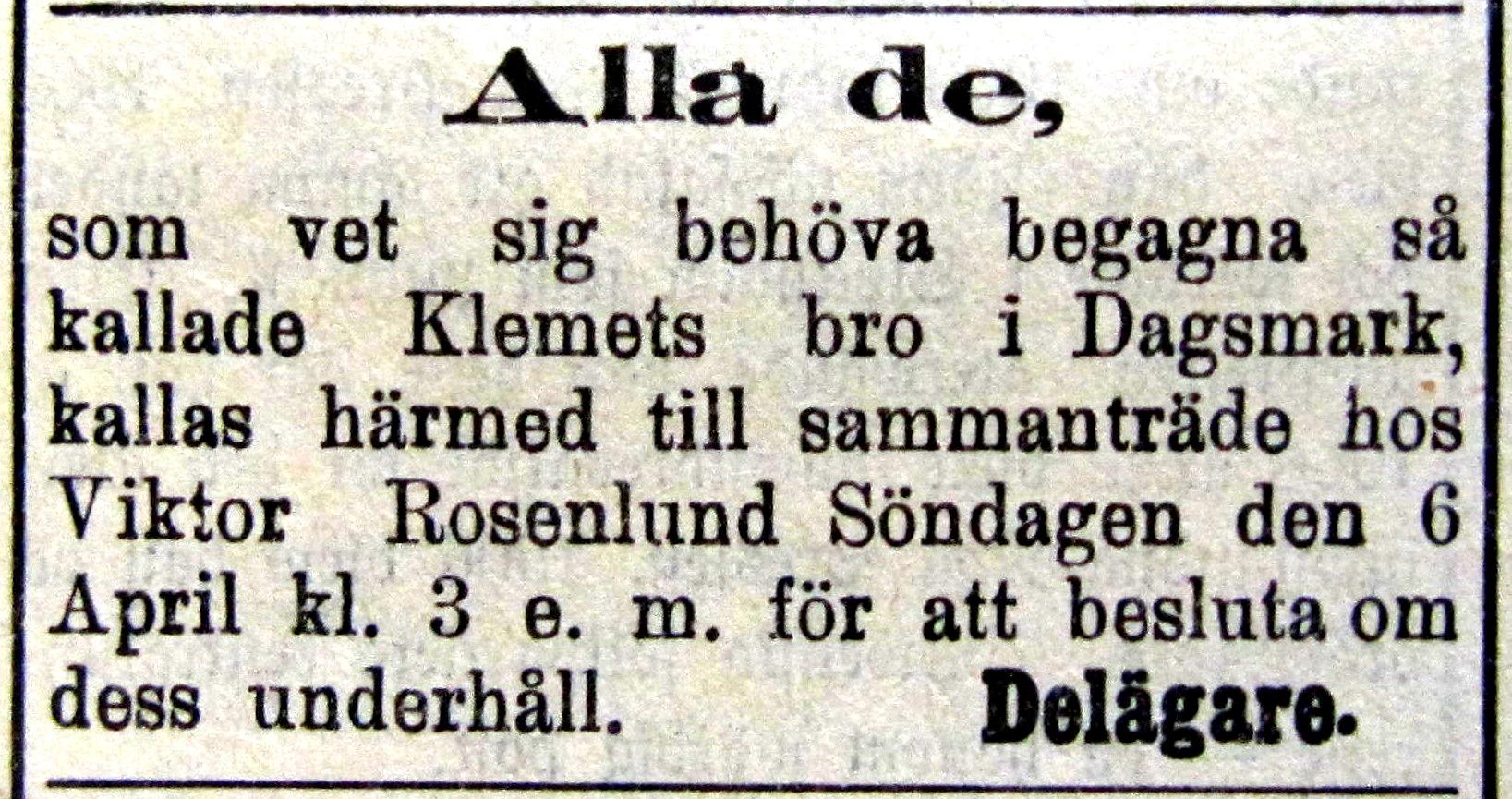År 1913 var denna annons införd i tidningen Syd-Österbotten och här ser vi att något slags bolag var bildat redan då.