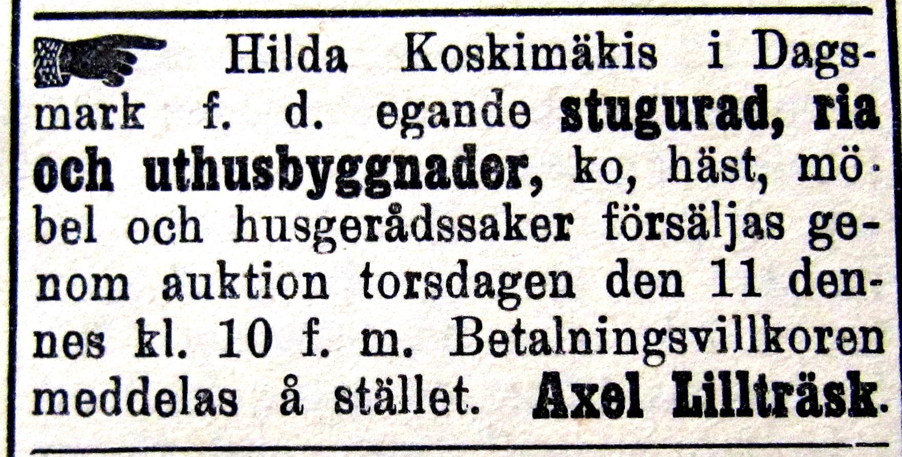 Här ser vi hur affärsmannen Axel Lillträsk säljer Dragås-Hildas hus, djur och husgeråd på auktion i slutet av år 1914.
