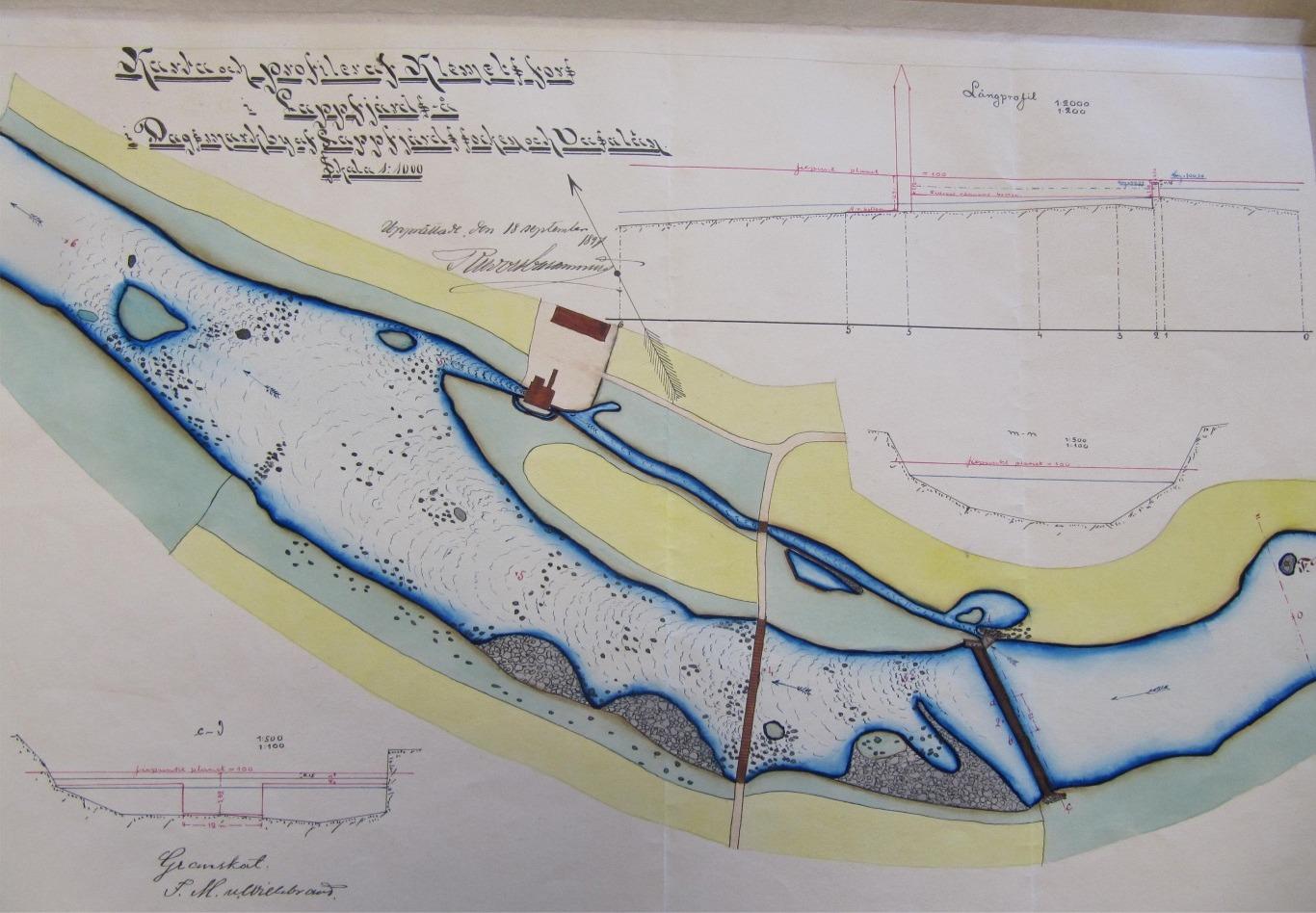 På denna karta från år 1897 ser vi kvarnens placering på norra sidan av Lappfjärds å.