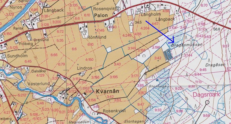 Här på kartan över Palon, Kvarnå och Dragåsen så ser vi var Dragåsmossen ligger