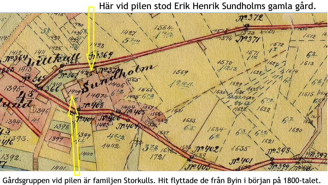På den 100-åriga storskifteskartan ser vi att Storkulls gård står nära landsvägen och korsningen till Lillsjö. Storkulls gård flyttades till Englunds i Palon år 1909 medan Erik Henrik Sundholms gård stod kvar på samma ställe tills den revs i mitten på 60-talet.