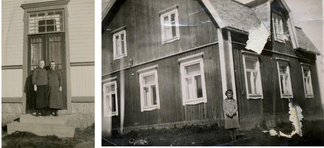 På lilla bilden står Maria Storkull t.h. på trappan till den södra ingången i Koll-boden. Kvinnan t.v. är möjligtvis Marias mor Maja-Greta. På bilden t.h. är Gunnars och Elisabeths dotter Gurli på besök i Dagsmark och här står hon framför Koll-gården.