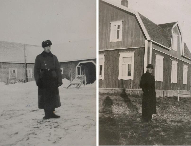 Här Alfred Storkull, på bilden t.v. som är tagen på senhösten 1941 har han varit hemma på permission från kriget för att begrava sin hustru Agnes, som dog 2 september. Anfallet mot Sovjetunionen pågick just då och det är kanske orsaken till att Alfred fick permission endast för begravningsdagen. Sedan måste han direkt tillbaka och lilla Ruby bodde hos sin mormor Adelina uppe i Palon under tiden Alfred var ute vid fronten.