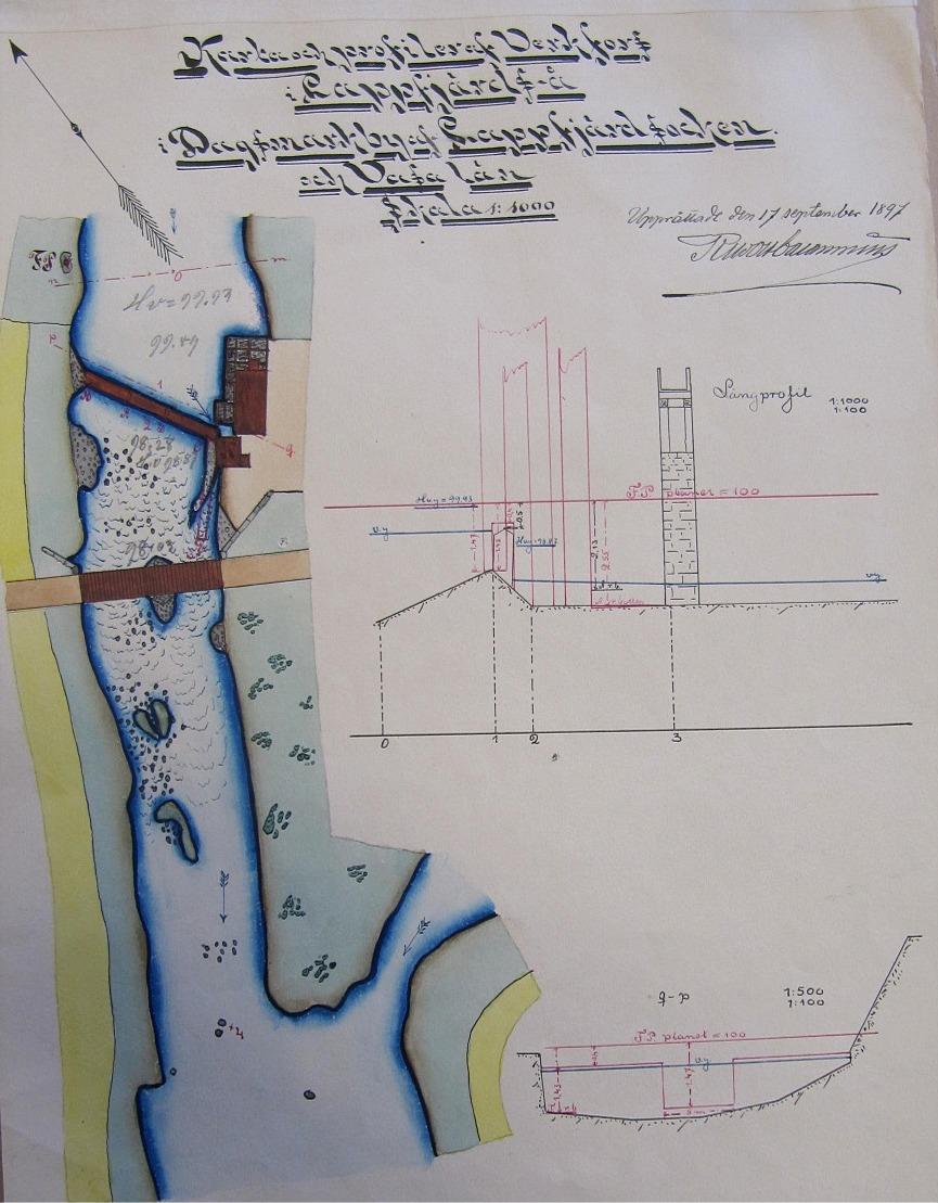 Här en karta från år 1897 som visar var Storbron är belägen i Verkforsen i centrala Dagsmark. Notera också kvarnens och sågens placering strax ovanför bron.