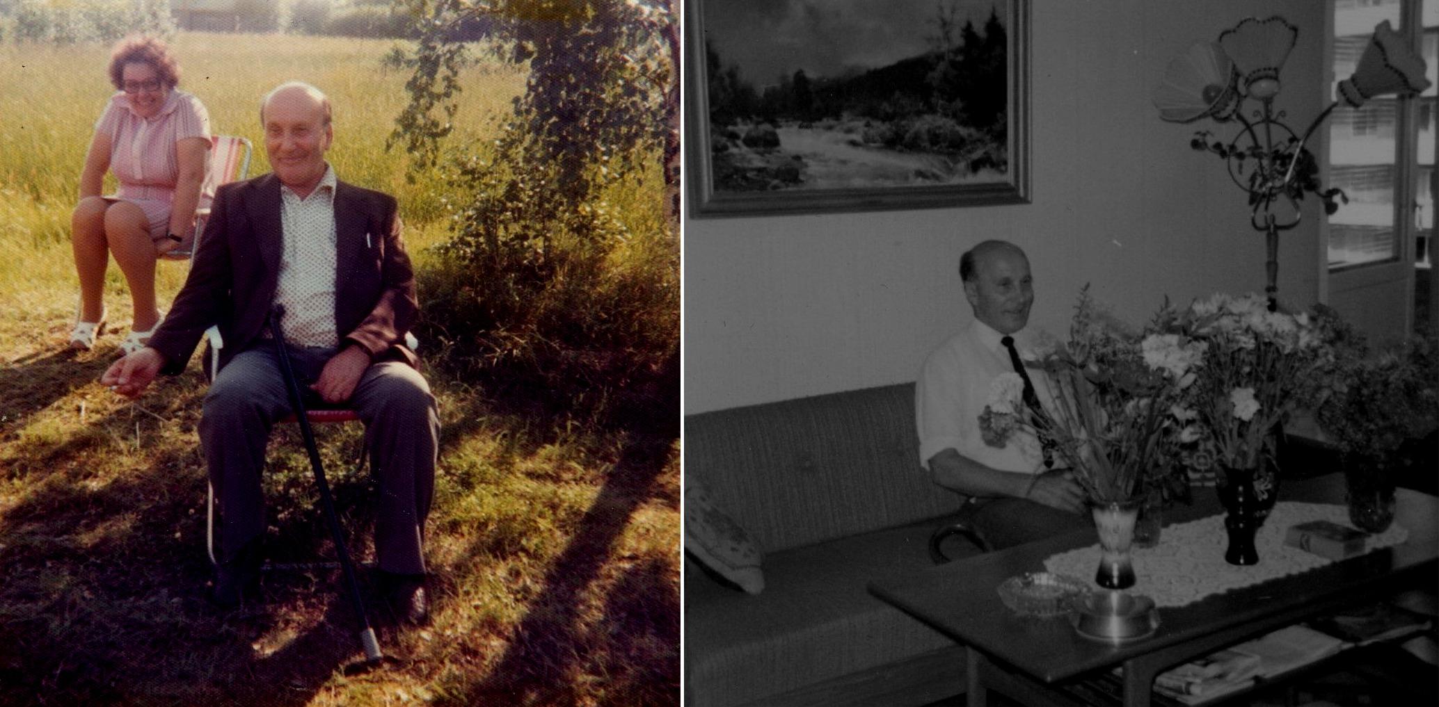 På bilden till vänster Alfred med sin dotter Ruby i bakgrunden. På bilden t.h. ser Alfred Storkull ut att ha fyllt jämnt.