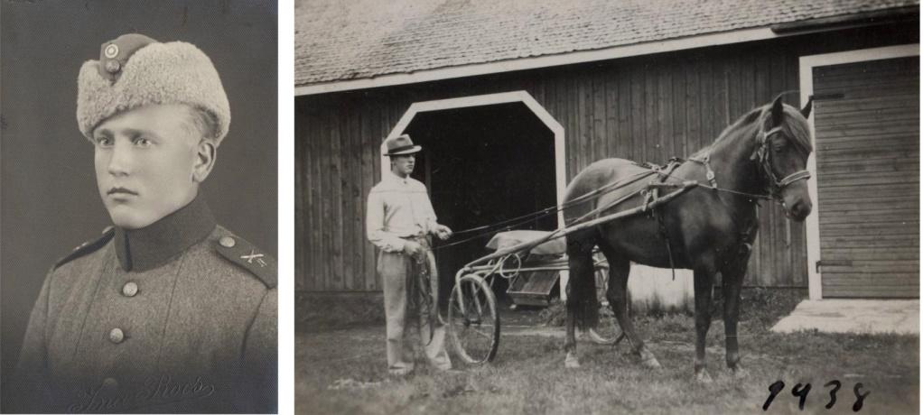 Här Einar i militären och till höger som travkusk år 1938.
