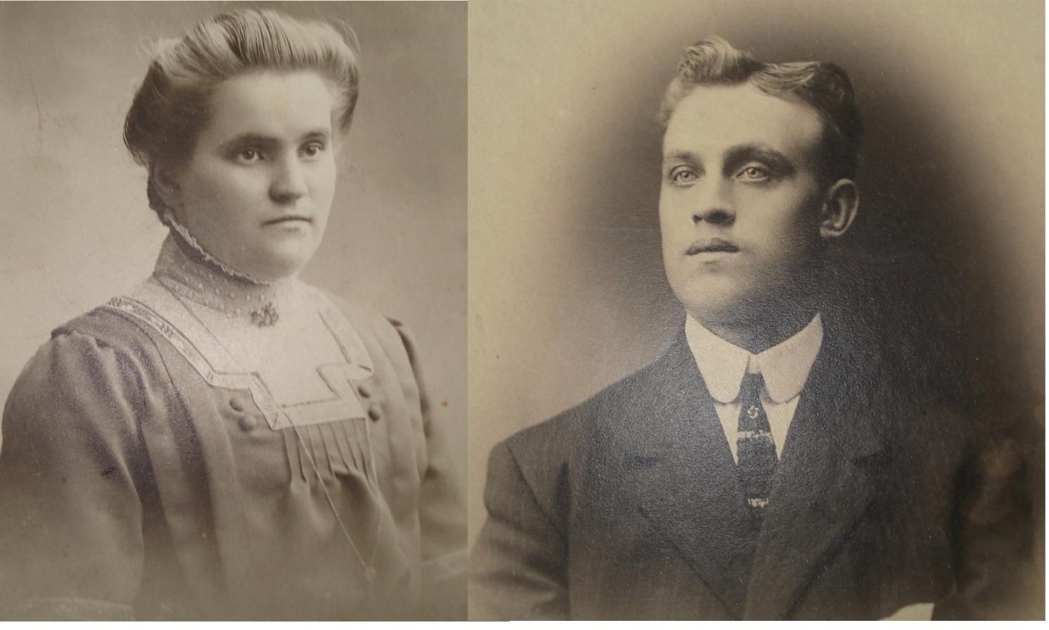 """Här Hildurs föräldrar Matilda (f. Hannus i Härkmeri 1892-1939) och """"Broback"""" Frans Andersson (f Rosengård på Brobackan 1890-1936)."""