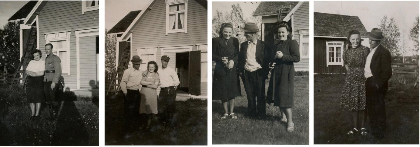 På första bilden Hildur och Eskil Storkull utanför hennes barndomshem. På den andra bilden är också Alfred med. På den tredje bilden står Gerda och Alfred tillsammans med Hildur och på den sista bilden står Gerda och Alfred framför lillstugan.